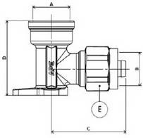 Схема размеров угла компрессионного монтажного APE