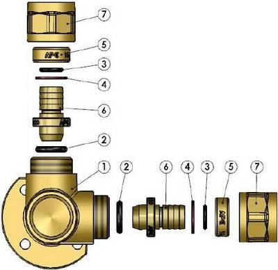 Схема компонентов в разборе тройника компрессионного монтажного APE