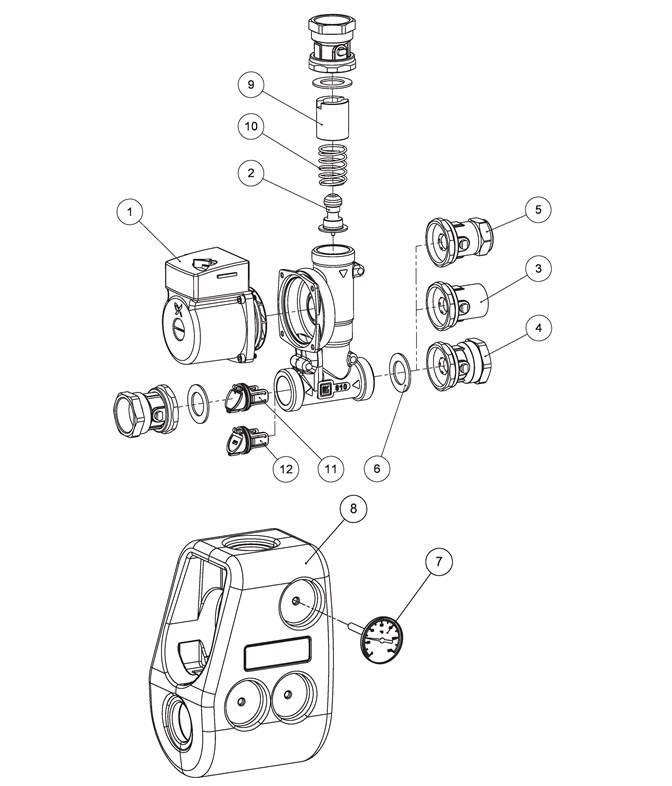 Смесительный узел LK 810 ThermoMat G в разборе с пометками аксессуаров и запчастей