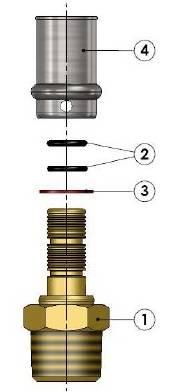 Схема в разборе компонентов пресс-муфты прямой с наружной резьбой APE для металлопластиковых труб