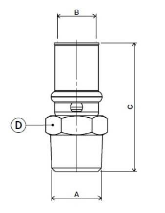 Схема размеров пресс-муфты прямой с наружной резьбой APE для металлопластиковых труб