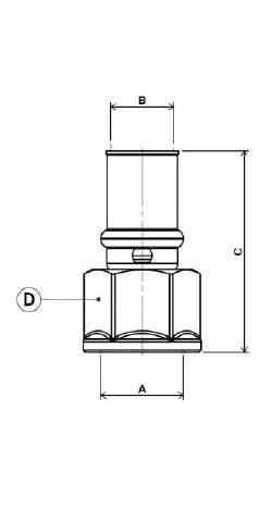 Изображение размеров пресс-муфты прямой с внутренней резьбой APE для металлопластиковых труб