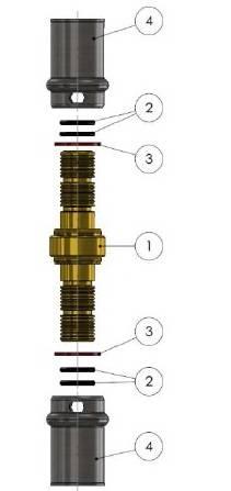 Изображение компонентов в разборе пресс-муфты прямой равно промежуточной APE для металлопластиковых многослойных труб
