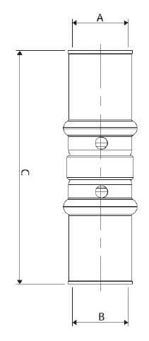 Изображение размеров пресс-муфты прямой равно промежуточной APE для металлопластиковых труб