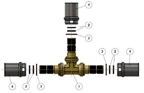 Изображение компонентов в разборе пресс-тройника равно промежуточного APE для многослойных металлопластиковых труб