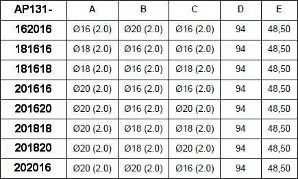 Таблица размеров пресс-тройника редукционно промежуточного APE для многослойных металлопластиковых труб