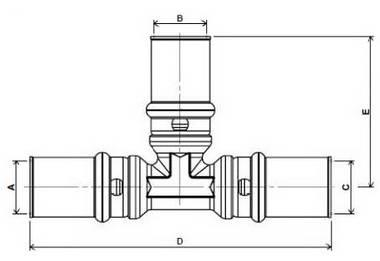 Схема размеров пресс-тройника равно промежуточного APE для металлопластиковых труб