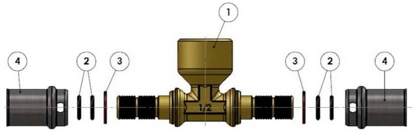 Изображение компонентов в разборе пресс-тройника с внутренней резьбой APE для металлопластиковых труб