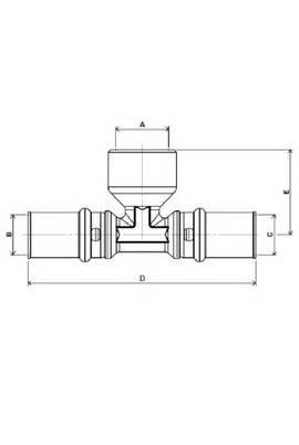 Изображение размеров пресс-тройника с наружной резьбой APE для металлопластиковых труб