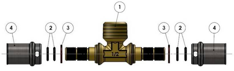 Изображение компонентов в разборе пресс-тройника с наружной резьбой APE для металлопластиковых труб