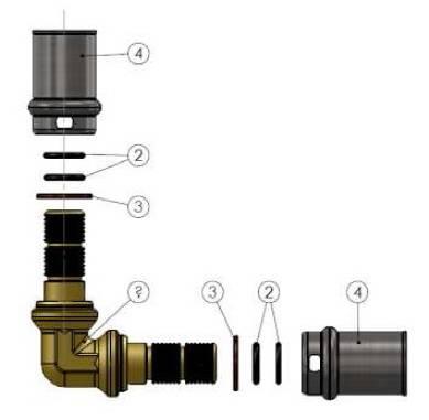Изображение компонентов в разборе пресс-угла промежуточного APE для металлопластиковых труб