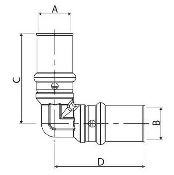 Изображение размеров пресс-угла промежуточного APE для металлопластиковых труб