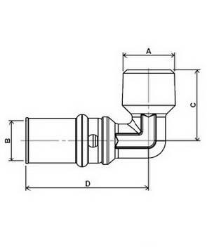 Изображение размеров пресс-угла с наружной резьбой APE для металлопластиковых труб