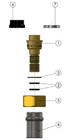 Изображение компонентов в разборе пресс-муфты прямой с накидной гайкой APE для металлопластиковой многослойной труьы