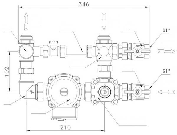 Схема подключения смесительного узла для тёплого пола с трёхходовым краном и насосом