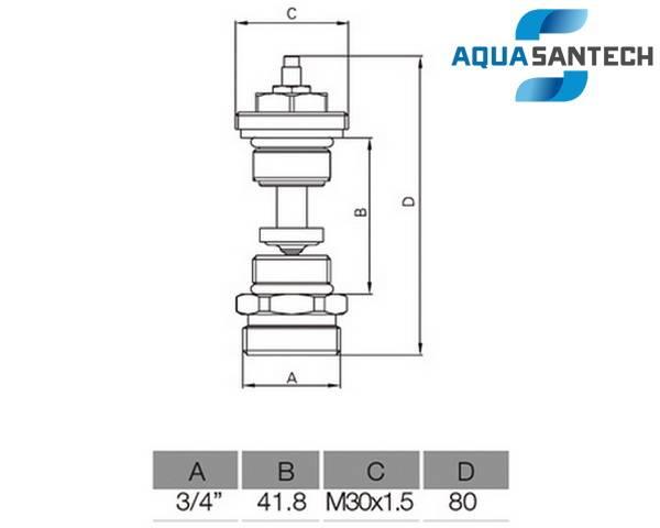 Схема размеров клапана термостатического (вентиля) для коллектора