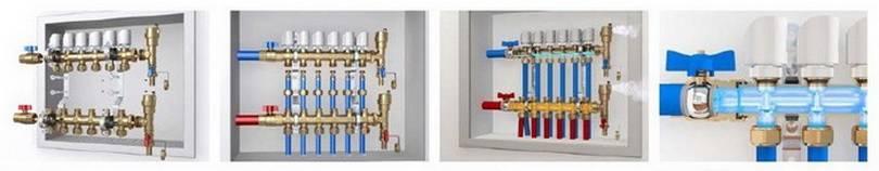 Примеры использования коллектора с ручными термостатическими винтами в сборе
