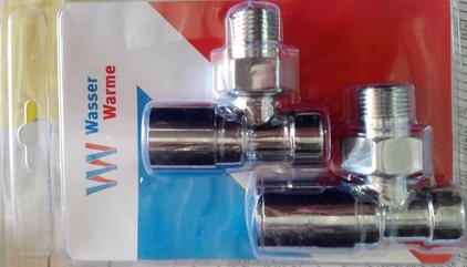 Комплектхром кранов угловых радиаторных в блистере