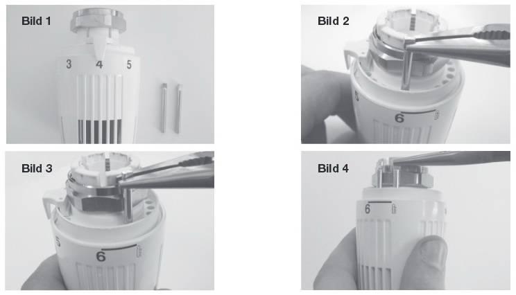 Наглядный рисунок инструкции огриничения или блокировки термоголовки ГЕРЦ-СТАНДАРТ