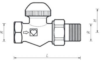 Схема размеров крана термостатического проходного ГЕРЦ-TS-90-V