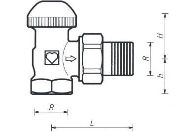 Схема размеров крана термостатического углового ГЕРЦ-TS-90-V