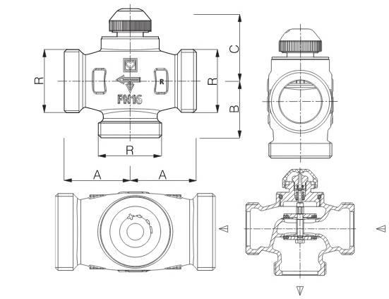 Схема размеров трёхходового термостатического клапана CALIS-TS-RD HERZ
