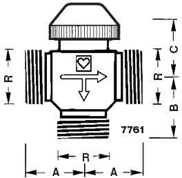 Схема размеров трёхходового термокрана для отопления CALIS-TS