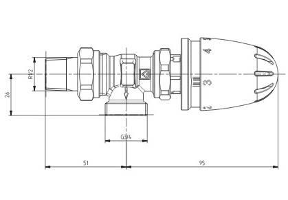 Схема размеров крана радиаторного углового с термоголовкой ГЕРЦ-MINI