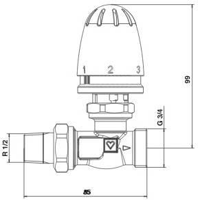 Схема размеров крана радиаторного прямого с термоголовкой ГЕРЦ-MINI