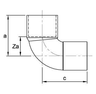 Рисунок общих размеров угла редукционного медного 90 градусов