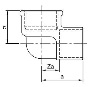 Схема общих размеров угла переходного 90 градусов с внутренней резьбой ASN14