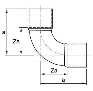 Схема общих размеров отвода двухраструбного медного 90° ASN18