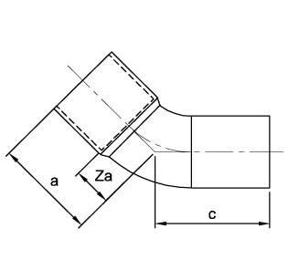 Схема общих размеров угла однораструбного медного 45 градусов под пайку ASN21S