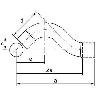 Схема общих размеров обвода медного однораструбного ASN22