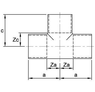 Схема общих размеров тройника медного ASN24