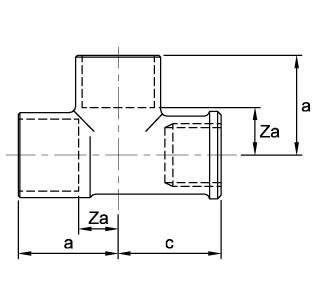 Схема размеров тройника медного внутренняя резьба ASN29R