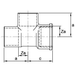 Размеры тройника медного с внутренней резьбой ASN29