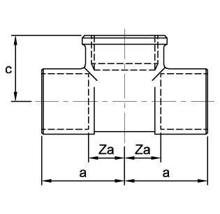 Схема размеров тройника с внутренней резьбой под углом 90 градусов ASN30