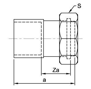 Схема размеров соединителя медного прямого с накидной гайкой ASN62