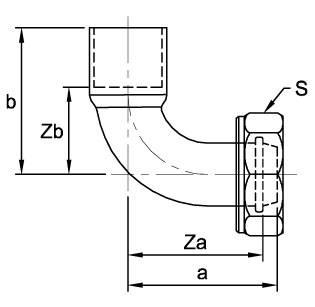 Схема размеров угола медного 90° переходного с накидной гайкой BS 1010 ASN64C