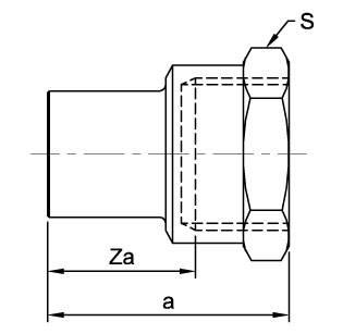Схема общих размеров ниппеля медного с внутренней резьбой ASN7 ENDEX