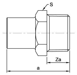 Схема общих размеров ниппеля медного под пайку с наружной резьбой ASN8