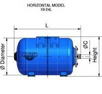 Схема размеров гидроаккумуляторов ZILMET ULTRA-PRO горизонтальных 19-24л