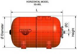 Схема размеров гидроаккумуляторов ZILMET ULTRA-PRO горизонтальных 50-80л