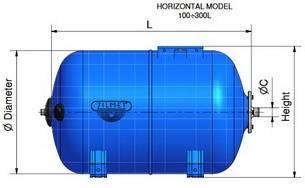 Схема размеров гидроаккумуляторов ZILMET ULTRA-PRO горизонтальных 100-300л