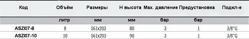 Таблица технических данных и размеров баков плоских ZILMET OEM-PRO 537/XL прямоугольных 561х203
