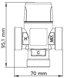 Схема размеров термостатического смесительного клапана AFRISO ATM