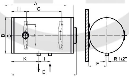 Схема габаритных размеров бойлера горизонтального Klima Hitze ECO Dry EHD