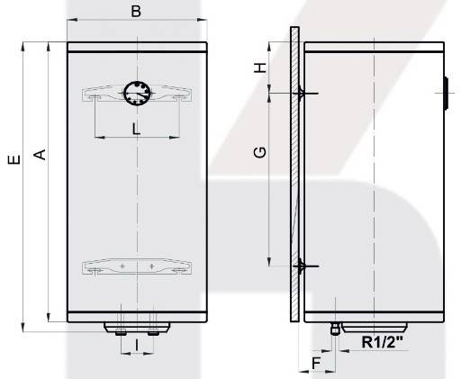 Схема размеров бойлера вертикального Klima Hitze Slim Dry EVSD