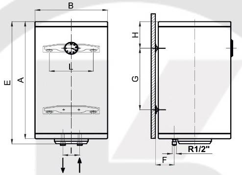 Схема габаритных размеров бойлера вертикального Klima Hitze ECO EV